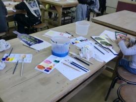 色づけ作業の風景