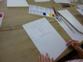 鉛筆で描いたかわいい下書き